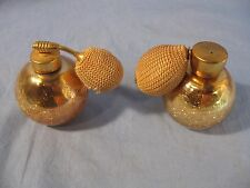 Vintage Pair of Gold Tone Crackle Glass Perfume Atomizers