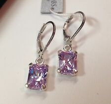 GORGEOUS 4ct Emerald Cut Lavender Amethyst Sterling Silver Earrings Dangle NWT