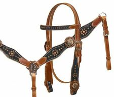 WESTERN HORSE LEATHER BRIDLE HEADSTALL W / 7' SPLIT REINS & BREAST COLLAR PLATE