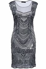 Babeyond Womens Flapper Dresses 1920s Sequined Beaded Great Gatsby Dress Grey
