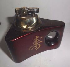 VINTAGE BEAUTIFUL JAPANESE ART DECO CERAMIC RED & GOLD TABLE LIGHTER - WORKING