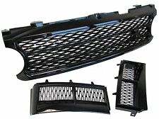 Gloss Black Supercharged grille+side air vent kit Range Rover L322 2005-09