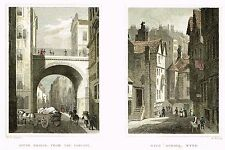 "Wadkin's ""SOUTH BRIDGE FROM THE COWGATE & HIGH SCHOOL WYND"" H-Col'd Eng. -1833"