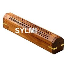 "12""Wooden Coffin Box Incense Burner/Stick/Holder/Brass Inlay/Storage Compartment"
