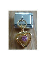 Italian Charms Dangle  D33  Gold Heart  Pink Rhinestone