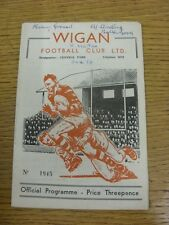 13/12/1958 Rugby League Programme: Wigan v Halifax  (writing on front, score ins