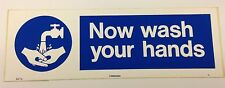 NOW WASH YOUR HANDS CATERING SIGN 300x100mm SELF ADHESIVE VINYL SAFETY DIY