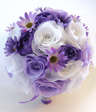 17 piece Wedding Flowers Bridal silk Bouquet LAVENDER LIGHT PURPLE DAISY Lilac