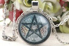 Retro Glass Tile Necklace Five Elements Life Pentagram Gift Jewelry Pendant