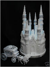 3Pc Lighted Castle Coach Wedding Quince cake topper Fairytale WHITE Cinderella