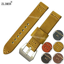 Watch Band Yellow Genuine Leather Strap Belt Silver Buckle Spring Bar Women Mens