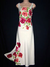 BNWT Laura Ashley vintage poster-rose print linen-silk blend dress size 10 UK