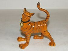 VTG Studio Pottery Tiger Sculpture Exotic Cat  Kitty Bell Collar Orange Black