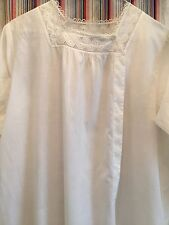 Antique Victorian Nightdress Size:12 White Cotton excellent Condition