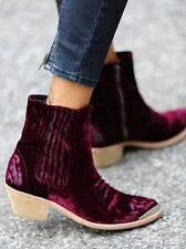 Free People x Jeffrey Campbell Barbary Red Velvet Ankle Boots 36 6 Rare $298
