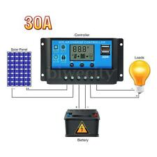 Mohoo 30A 12V/24V Dual USB Port LCD PWM Solar Panel Regulator Charge Controller