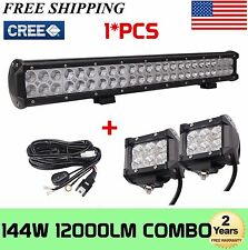 23 Inch 144W CREE Combo Led Light Bar+ 2X 18W Work Lights+Wring Kit offroad 4WD