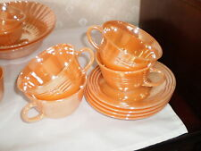 4 SETS OF PEACH LUSTER FIRE KING CUPS AND SAUCERS  - 3-BAND