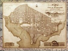 POST CARD OF A VINTAGE MAP OF THE CITY OF WASHINGTON, DISTRICT OF COLUMBIA 1818