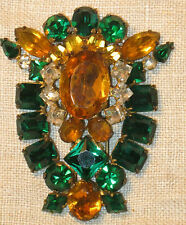 GORGEOUS Antique STERLING FUR CLIP w Emerld Green  CITRINE Stones Dress Brooch