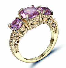 Women Lady 18K Yellow Gold Filled pink zircon Ring Wedding Fashion Jewelry size9