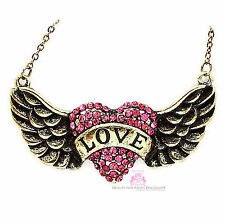 Pink Girls Ladies His Banner Over Me is Love Heart Angel Wing Crystal Necklace