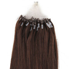 100 Strands 1g Micro Ring Loop Human Remy Hair Extensions AAA 45cm Dark Brown #2