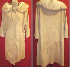 ~~Vtg Long Tanned Suede Leather Coat w/ Fur Collar Sz L/XL (looks like Mink)~~