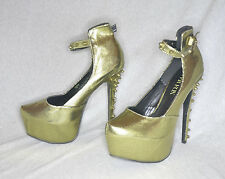 "Paper Fox ""Zora"" yellow metallic hi-heel platform pump - Size 11, 6.5"" heel New"