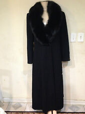 Marvin Richards women's dress winter black fox fur lambswool long coat 14 L new