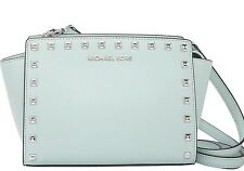 NWT Michael Kors Leather Selma Stud Messenger Crossbosy TZ Medium Celadon Green
