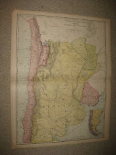 HUGE FOLIO SIZE ANTIQUE 1898 ARGENTINA CHILE PARAGUAY URUGUAY SOUTH AMERICA MAP