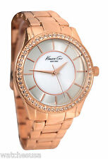 Kenneth Cole Women's Mother of Pearl Dial Rose Gold Steel Band Watch 10019402