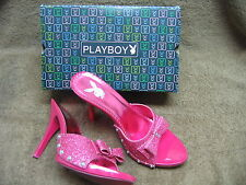 "Fuchsia Pink Glitter Playboy Stilettos 5"" Slip On High Heels Sz 9 GabborOrig Box"
