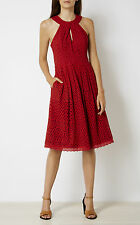 KAREN MILLEN DZ009 NEW WITH TAG KNOT NECKLINE BRODERIE DRESS BURNT ORANGE UK10
