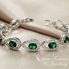 18K White Gold Filled Swarovski Crystal Luxury Teardrop Emerald Tennis Bracelet