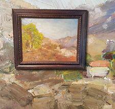 Extreme impressionistische Berglandschaft mit Hütte. Original altes Ölgemälde