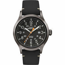 "Timex TW4B01900, Men's ""Expedition"" Black Leather Watch, Scout, TW4B019009J"