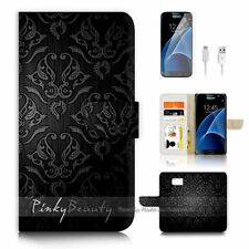 Samsung Galaxy S7 Flip Wallet Case Cover P1034 Damask Pattern