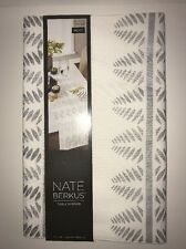 "NATE BERKUS Metallic Table Runner IVORY/SILVER LEAF 14""x72""NWT Dining Room Decor"