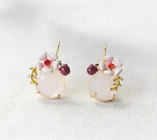 Earrings Gold Dangle Floral ladybug Insect Flower Enamel Pink Opal Retro L1
