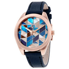 Armani Exchange Multi-Colored Mosaic Dial Blue Leather Ladies Watch AX5525