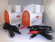 LOT OF 2 12VOLT DC 2SP PORTABLE FAN COOLER POWERED BY 12V BATTERY OR CAR LIGHTER