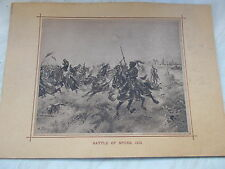 """A Vintage Mounted Print of BATTLE OF SPURS -Measures 15"""" x 11"""" Approx."""