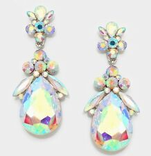 "2.5"" Long Big Silver Clear Aurora Borealis AB Austrian Crystal Pageant Earrings"