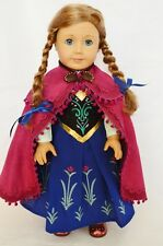 """Frozen Anna Dress Fits 18"""" Inch American Girl Doll Princess Outfit Clothes"""