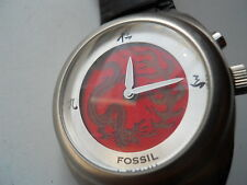 Fossil dragon breating mens black leather,quartz,battery & water resistant watch