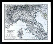 1875 Petermann Map - North Italy Rome Florence Venice Milan Italian Alps Stieler