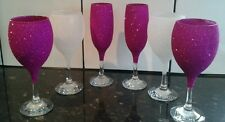 ���� 2 champagne and 4 wine glitter glasses���� can be done any colour ����
