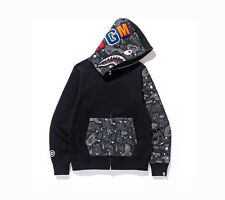 A Bathing Ape Bape Men Shark Space Camo Glow in Dark Half Face WGM Hoodie